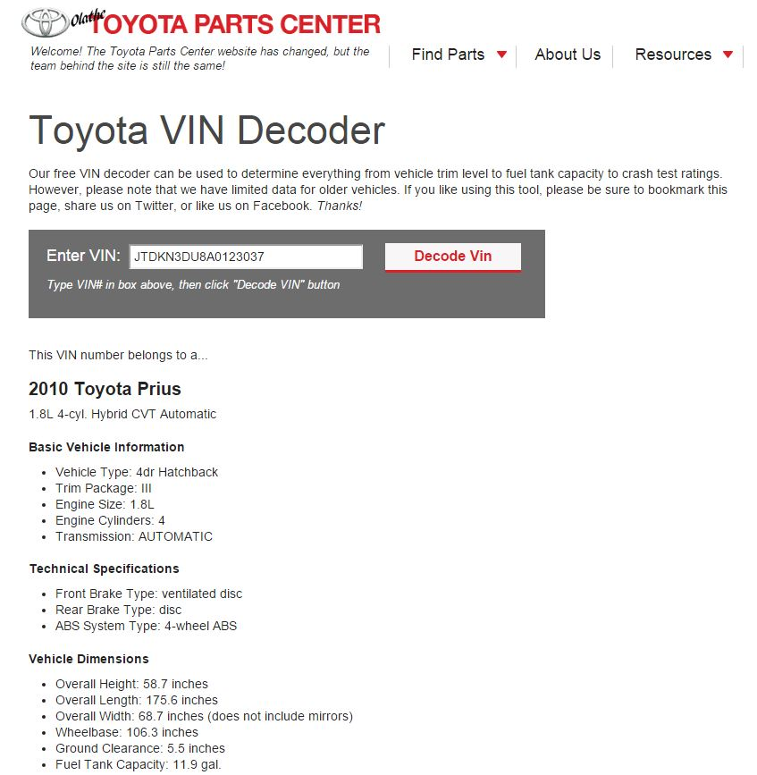 Toyota Vin Decoder >> 2010 Toyota Prius Base Model Upgrade Priuschat