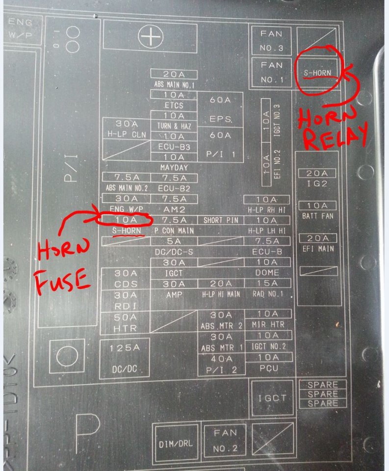 Coverdiagram Hornfuserelay on 2010 Toyota Prius Fuse Box