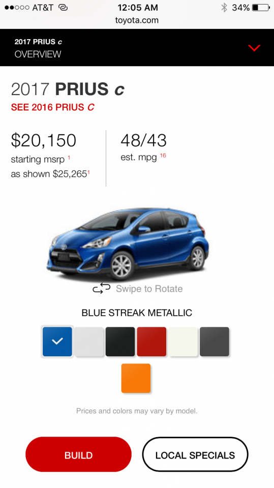 2017 Prius C Mild Refresh Lower Mpg Estimates Priuschat