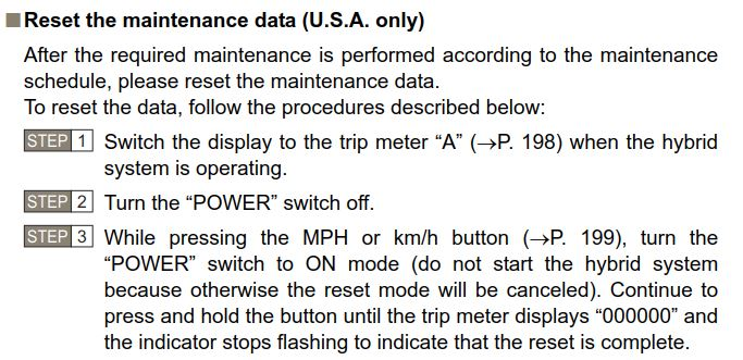 2012 prius recommended maintenance schedule
