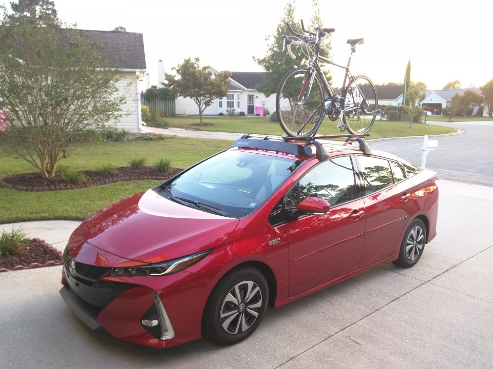 2017 Toyota Prius Prime Hypersonic Red With Bicycle On