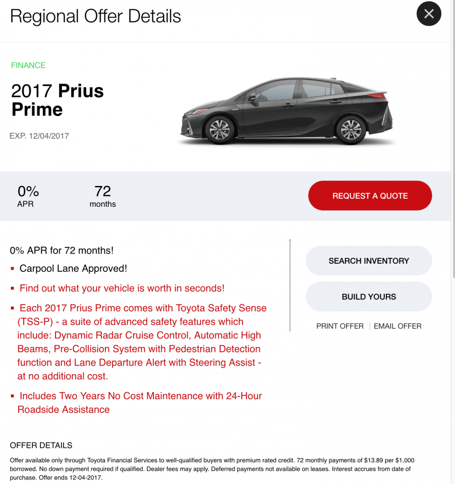 Is Toyota S 0 Finance On Prius Prime Actually 0 Priuschat