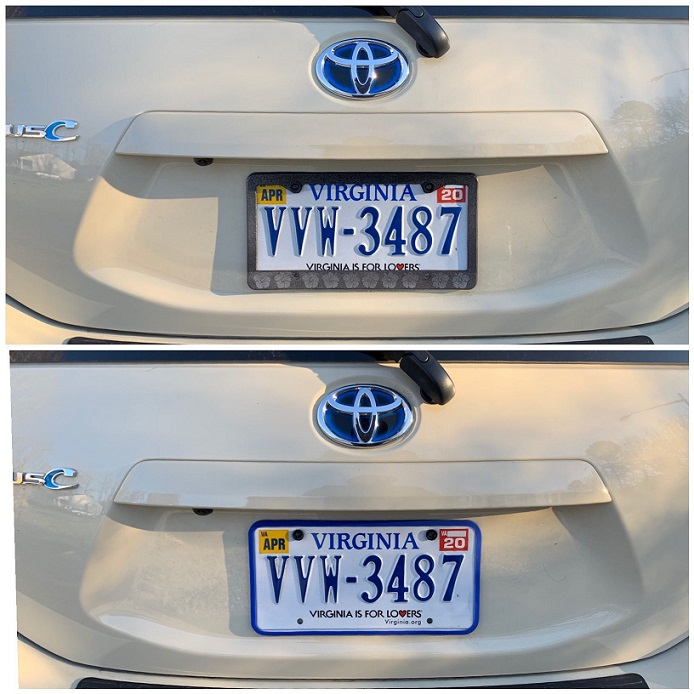 Prius C license plate frame2.JPG