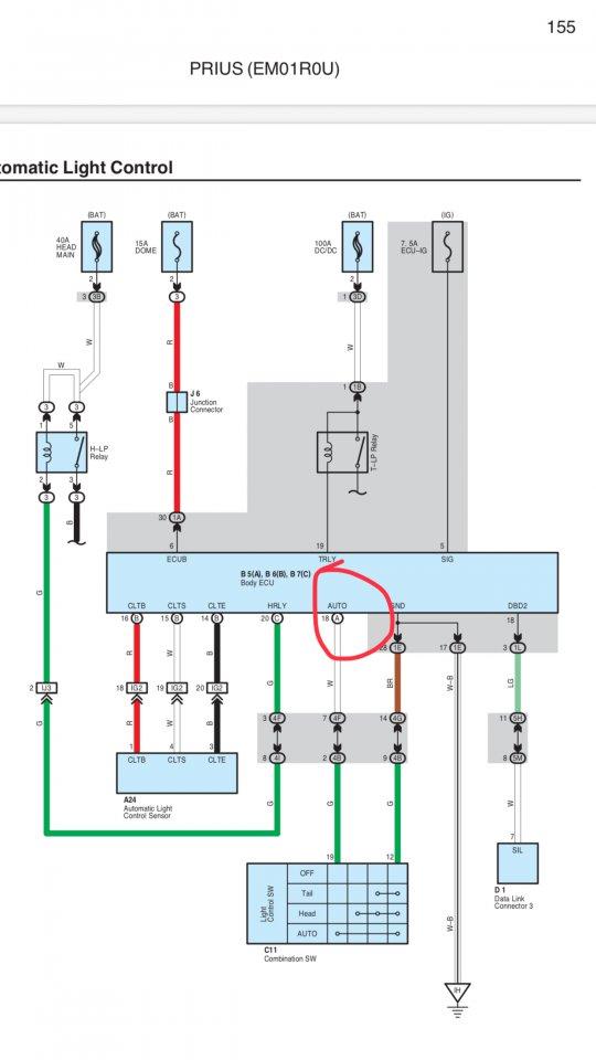 Prius 2 Main Body Ecu No Auto Light And Fog Light Function